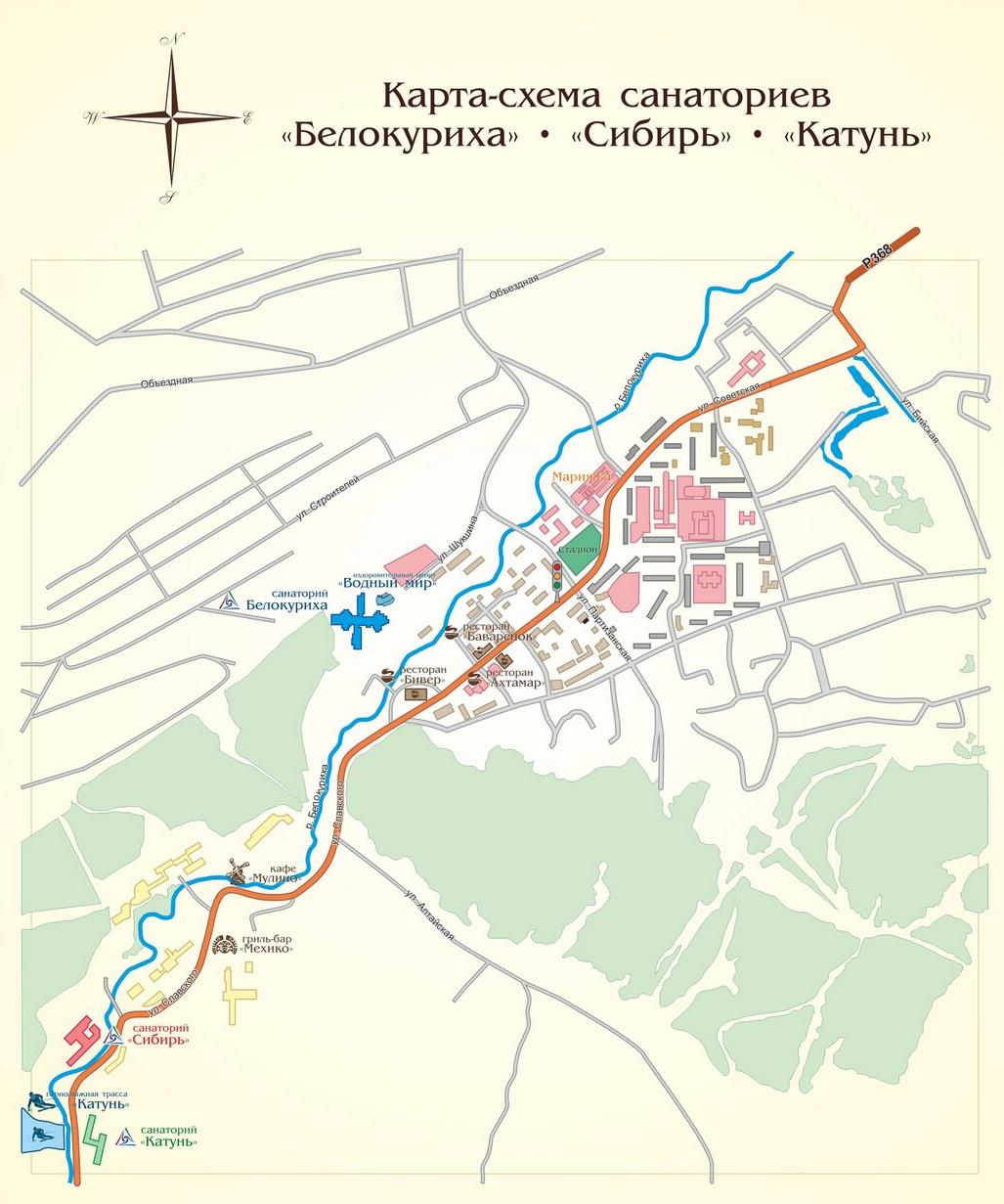 Схема туристических маршрутов белокуриха 2